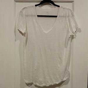 Gap White Linen Short Sleeve Top XS